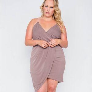 Dresses & Skirts - Plus Size Mocha Tulip-hem Evening Dress
